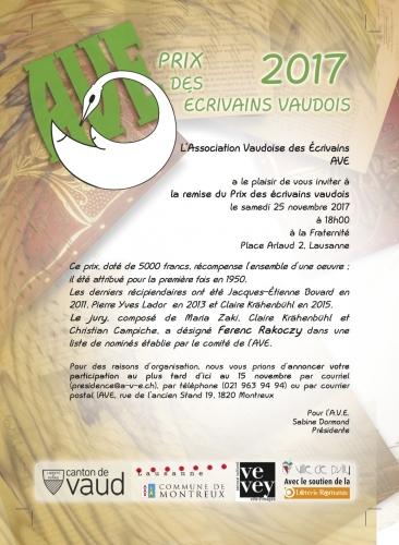 AVE, prix, écrivains, vaudois, Ferenc, Rakoczy